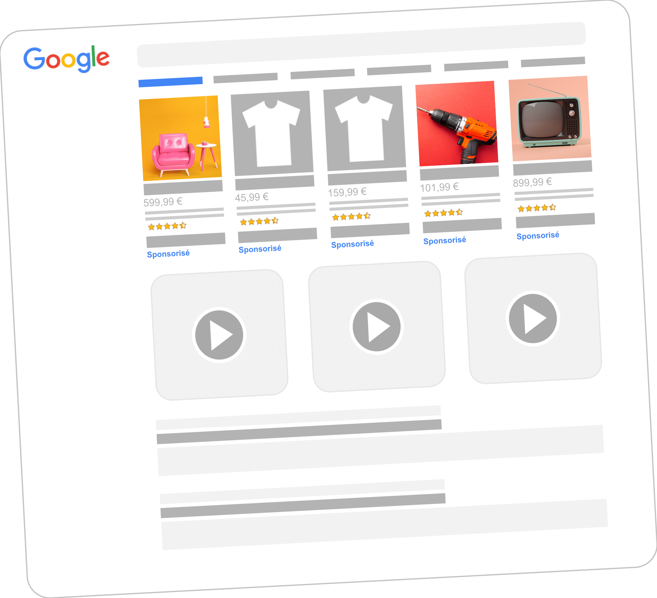 Ecran résultats Google Shopping